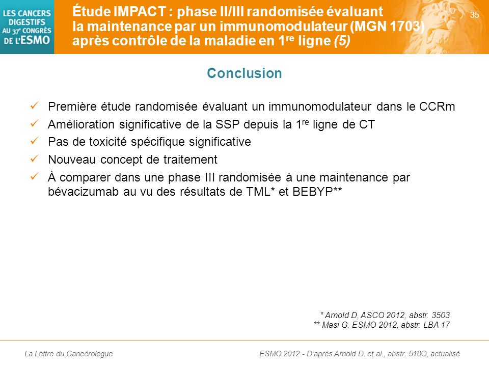 La Lettre du Cancérologue Étude IMPACT : phase II/III randomisée évaluant la maintenance par un immunomodulateur (MGN 1703) après contrôle de la malad