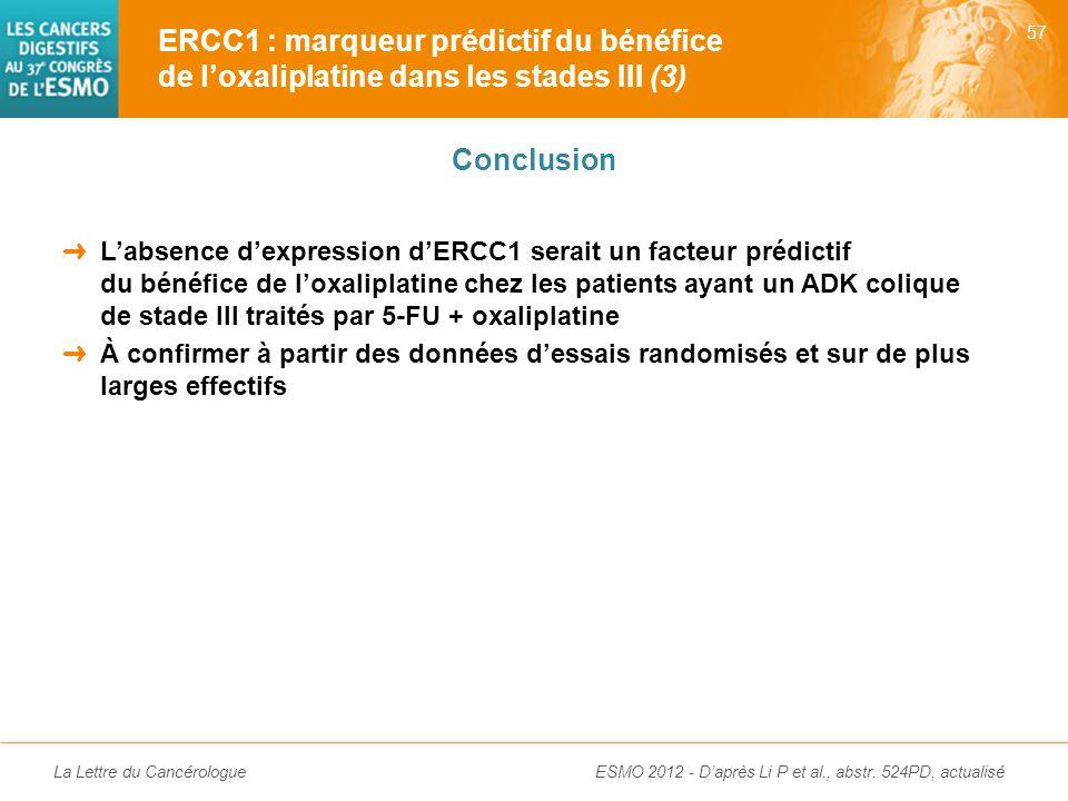 La Lettre du Cancérologue Expression dERCC1 corrélée à la survie uniquement dans le groupe de patients traités par 5-FU + oxaliplatine (et non chez le