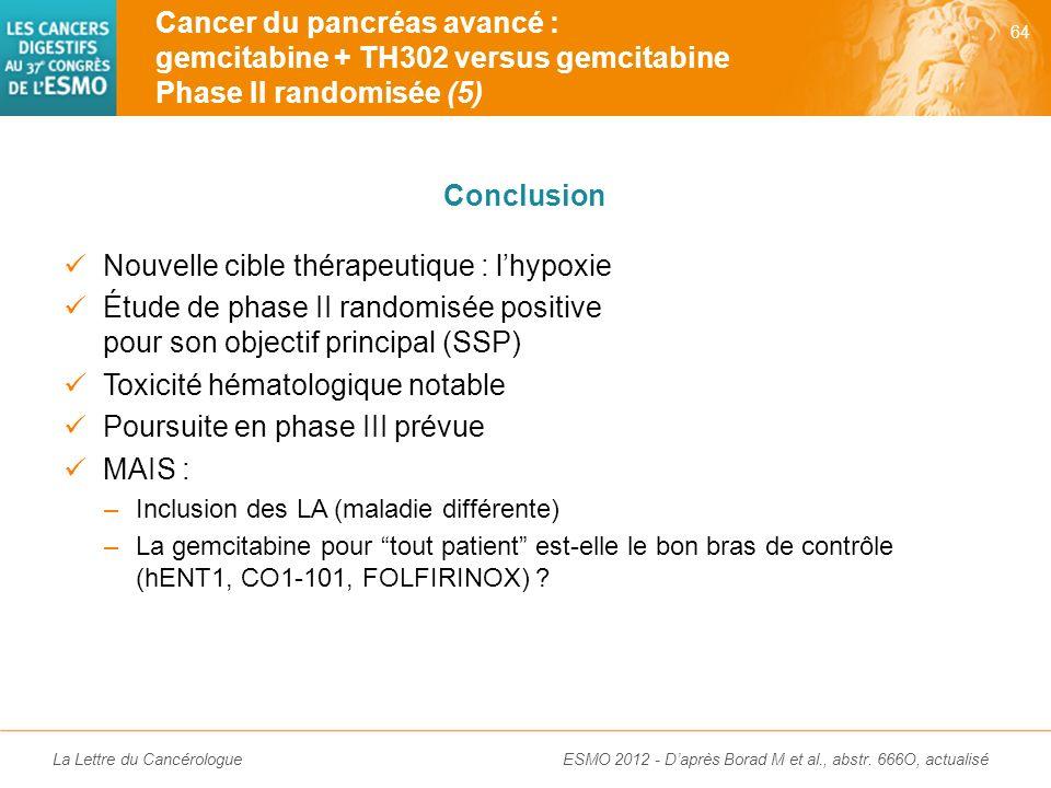 La Lettre du Cancérologue Cancer du pancréas avancé : gemcitabine + TH302 versus gemcitabine Phase II randomisée (4) 63 ESMO 2012 - Daprès Borad M et