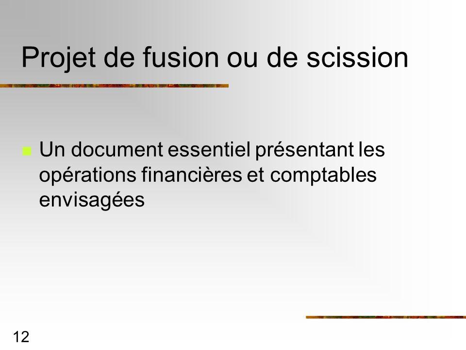 12 Projet de fusion ou de scission Un document essentiel présentant les opérations financières et comptables envisagées