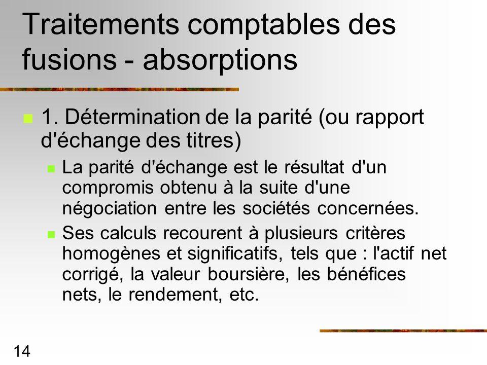 14 Traitements comptables des fusions - absorptions 1. Détermination de la parité (ou rapport d'échange des titres) La parité d'échange est le résulta