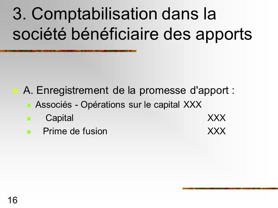 16 3. Comptabilisation dans la société bénéficiaire des apports A. Enregistrement de la promesse d'apport : Associés - Opérations sur le capital XXX C