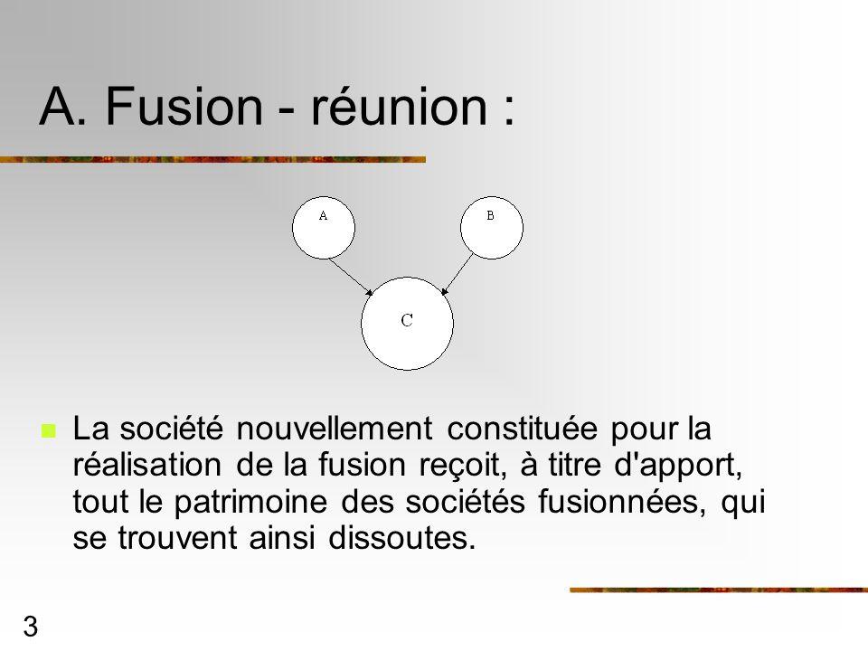 3 A. Fusion - réunion : La société nouvellement constituée pour la réalisation de la fusion reçoit, à titre d'apport, tout le patrimoine des sociétés