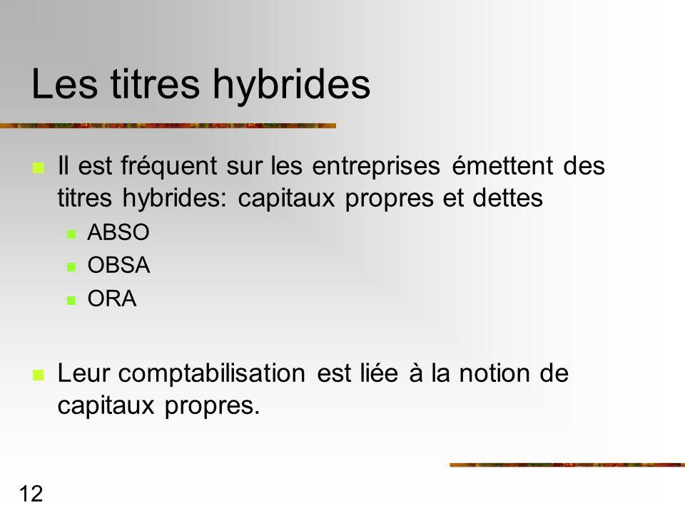12 Les titres hybrides Il est fréquent sur les entreprises émettent des titres hybrides: capitaux propres et dettes ABSO OBSA ORA Leur comptabilisation est liée à la notion de capitaux propres.