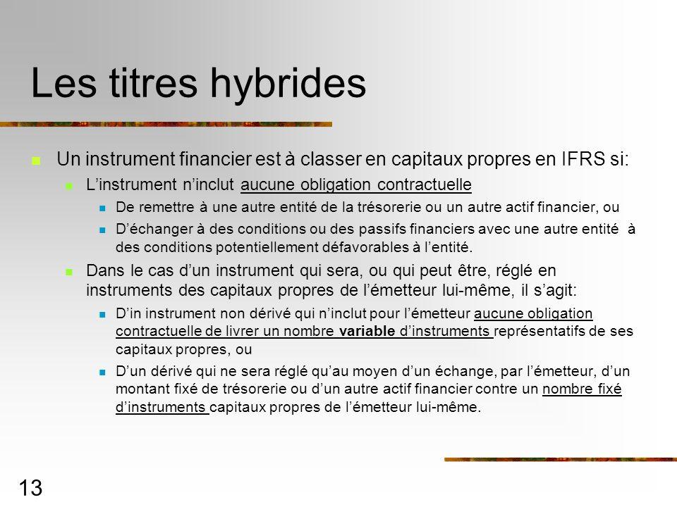 13 Les titres hybrides Un instrument financier est à classer en capitaux propres en IFRS si: Linstrument ninclut aucune obligation contractuelle De remettre à une autre entité de la trésorerie ou un autre actif financier, ou Déchanger à des conditions ou des passifs financiers avec une autre entité à des conditions potentiellement défavorables à lentité.