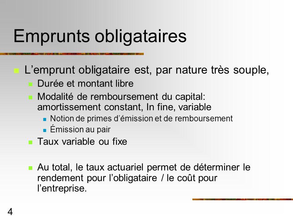 4 Emprunts obligataires Lemprunt obligataire est, par nature très souple, Durée et montant libre Modalité de remboursement du capital: amortissement c