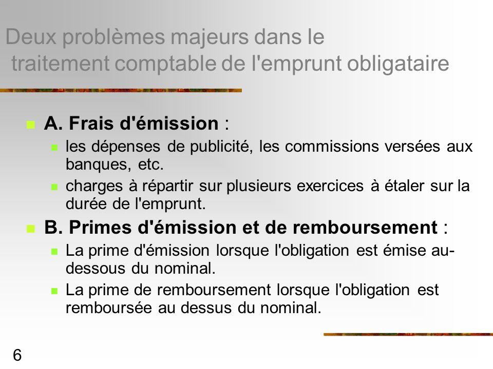 6 Deux problèmes majeurs dans le traitement comptable de l'emprunt obligataire A. Frais d'émission : les dépenses de publicité, les commissions versée