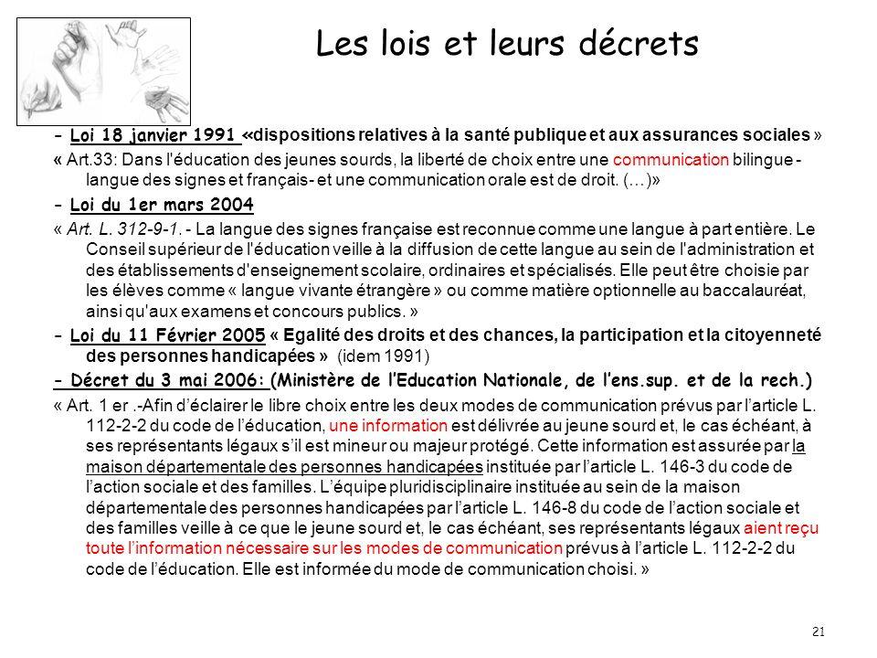 21 Les lois et leurs décrets - Loi 18 janvier 1991 « dispositions relatives à la santé publique et aux assurances sociales » « Art.33: Dans l'éducatio