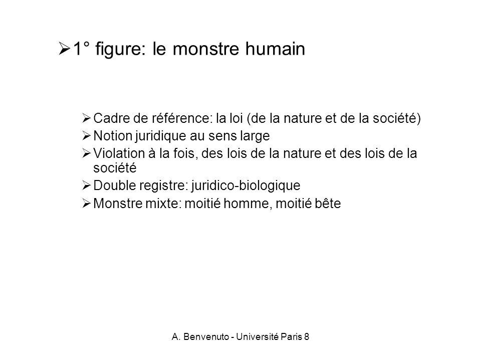 A. Benvenuto - Université Paris 8 1° figure: le monstre humain Cadre de référence: la loi (de la nature et de la société) Notion juridique au sens lar