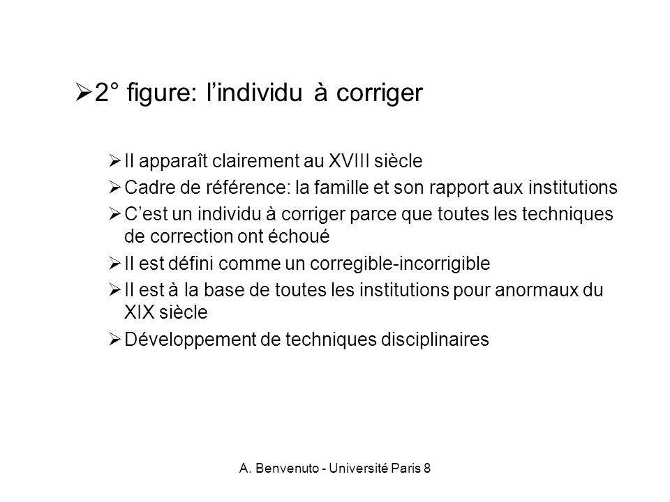 A. Benvenuto - Université Paris 8 2° figure: lindividu à corriger Il apparaît clairement au XVIII siècle Cadre de référence: la famille et son rapport
