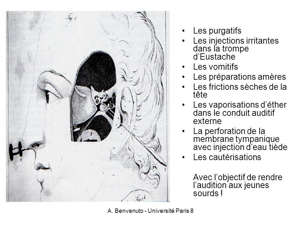 A. Benvenuto - Université Paris 8 Les purgatifs Les injections irritantes dans la trompe dEustache Les vomitifs Les préparations amères Les frictions