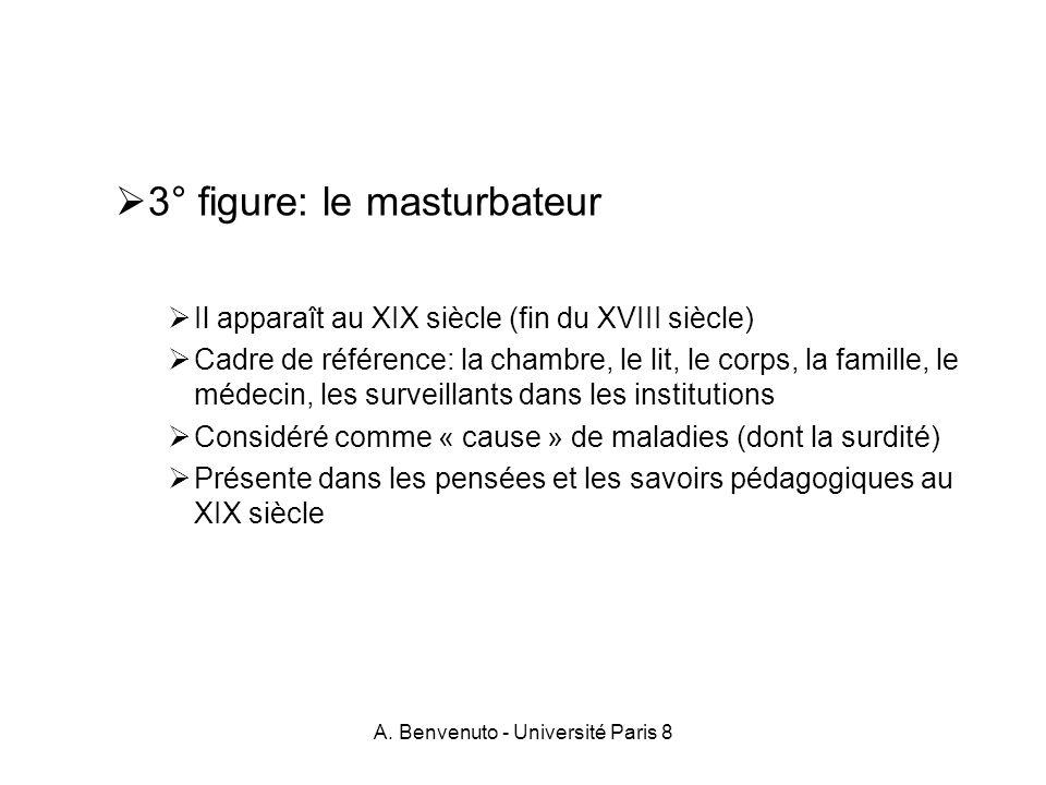 A. Benvenuto - Université Paris 8 3° figure: le masturbateur Il apparaît au XIX siècle (fin du XVIII siècle) Cadre de référence: la chambre, le lit, l