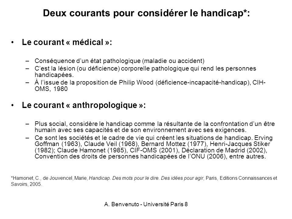 A. Benvenuto - Université Paris 8 Deux courants pour considérer le handicap*: Le courant « médical »: –Conséquence dun état pathologique (maladie ou a