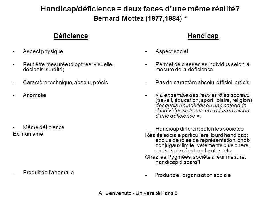 A. Benvenuto - Université Paris 8 Handicap/déficience = deux faces dune même réalité? Bernard Mottez (1977,1984) * Déficience -Aspect physique -Peut ê
