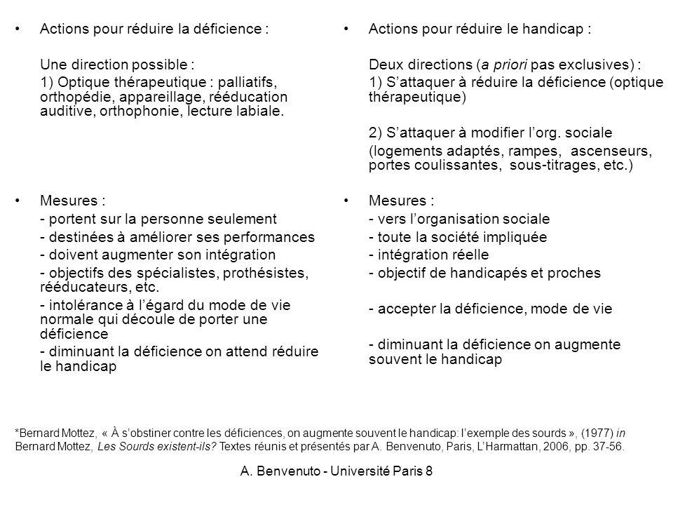 A. Benvenuto - Université Paris 8 Actions pour réduire la déficience : Une direction possible : 1) Optique thérapeutique : palliatifs, orthopédie, app