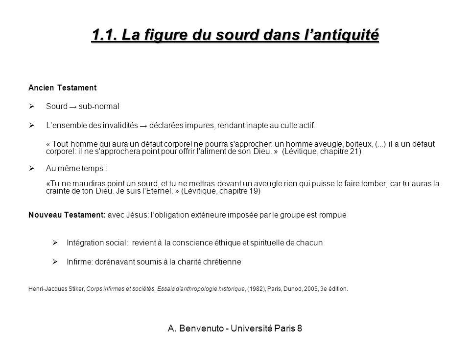 A. Benvenuto - Université Paris 8 1.1. La figure du sourd dans lantiquité Ancien Testament Sourd sub-normal Lensemble des invalidités déclarées impure