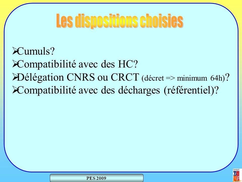 Cumuls. Compatibilité avec des HC. Délégation CNRS ou CRCT (décret => minimum 64h) .