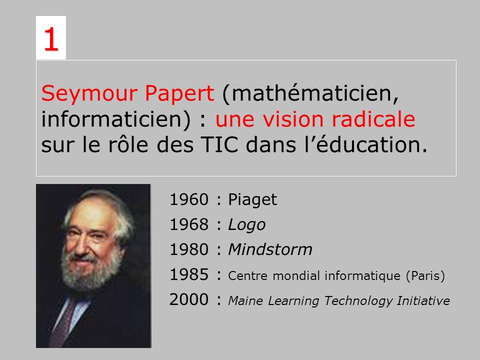 Seymour Papert (mathématicien, informaticien) : une vision radicale sur le rôle des TIC dans léducation. 1 1960 : Piaget 1968 : Logo 1980 : Mindstorm