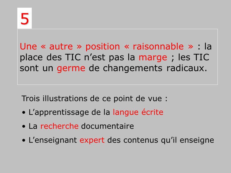 Une « autre » position « raisonnable » : la place des TIC nest pas la marge ; les TIC sont un germe de changements radicaux. 5 Trois illustrations de
