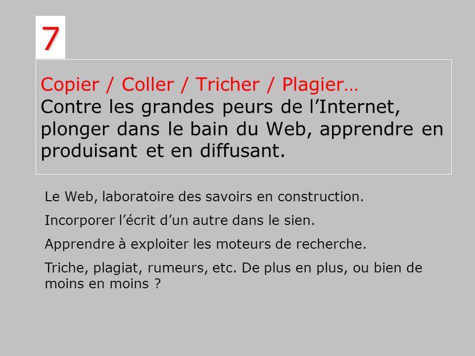 Copier / Coller / Tricher / Plagier… Contre les grandes peurs de lInternet, plonger dans le bain du Web, apprendre en produisant et en diffusant. 7 Le