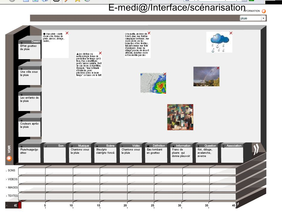 E-medi@/Interface/scénarisation