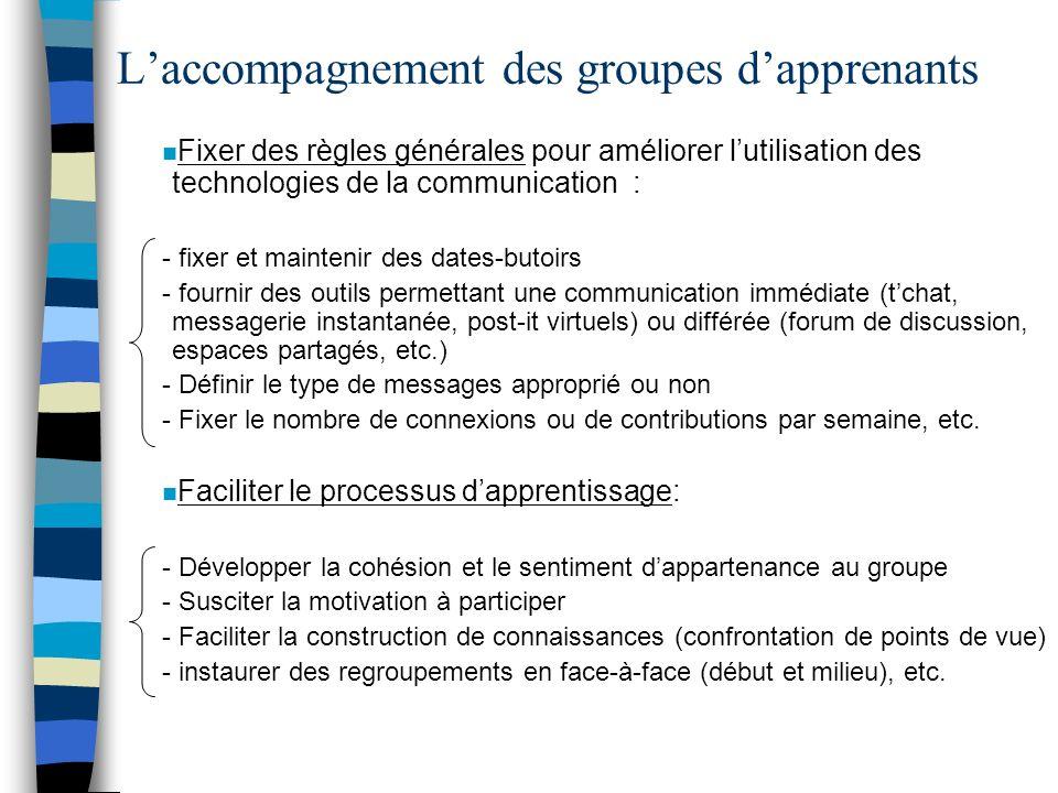 Laccompagnement des groupes dapprenants n Fixer des règles générales pour améliorer lutilisation des technologies de la communication : - fixer et mai
