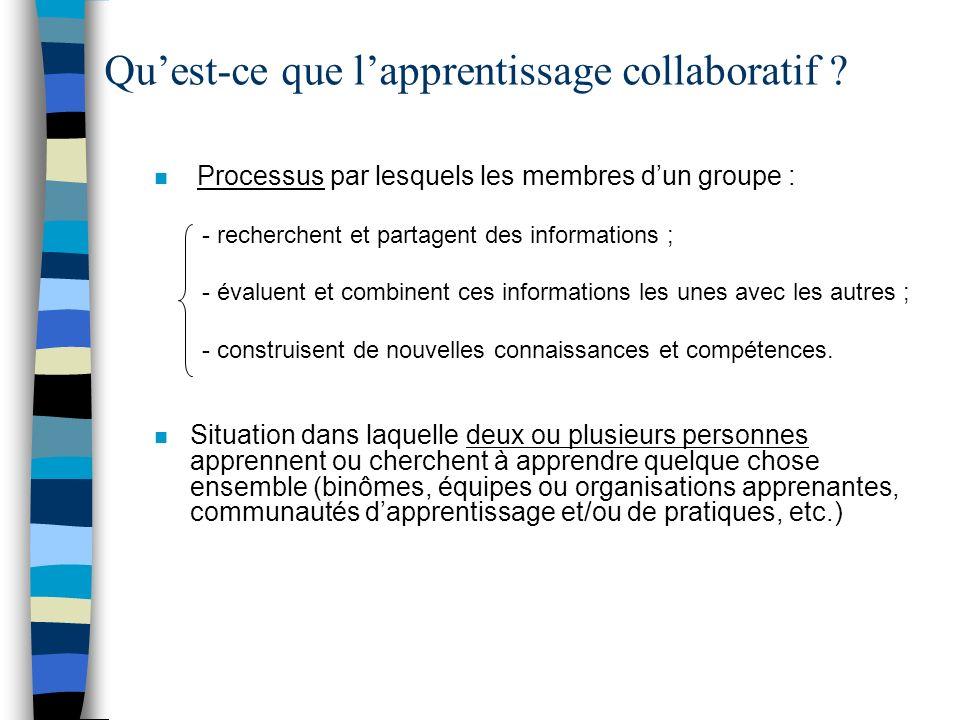 Quest-ce que lapprentissage collaboratif ? n Processus par lesquels les membres dun groupe : - recherchent et partagent des informations ; - évaluent