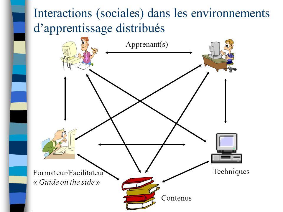 Contenus Techniques Formateur/Facilitateur « Guide on the side » Apprenant(s) Interactions (sociales) dans les environnements dapprentissage distribué