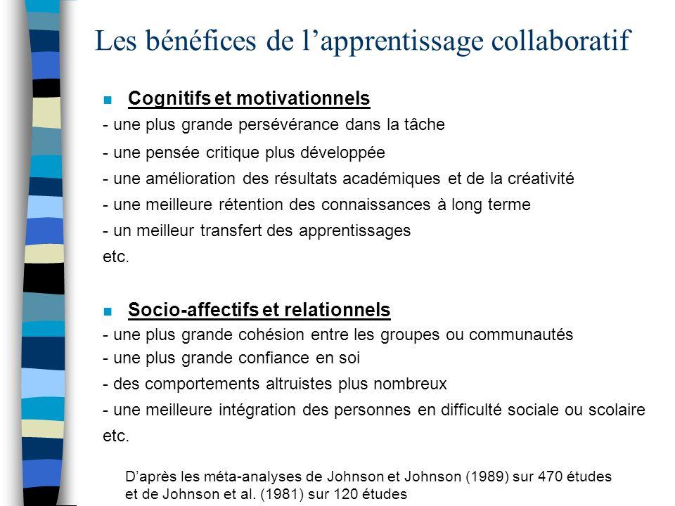 Les bénéfices de lapprentissage collaboratif n Cognitifs et motivationnels - une plus grande persévérance dans la tâche - une pensée critique plus dév