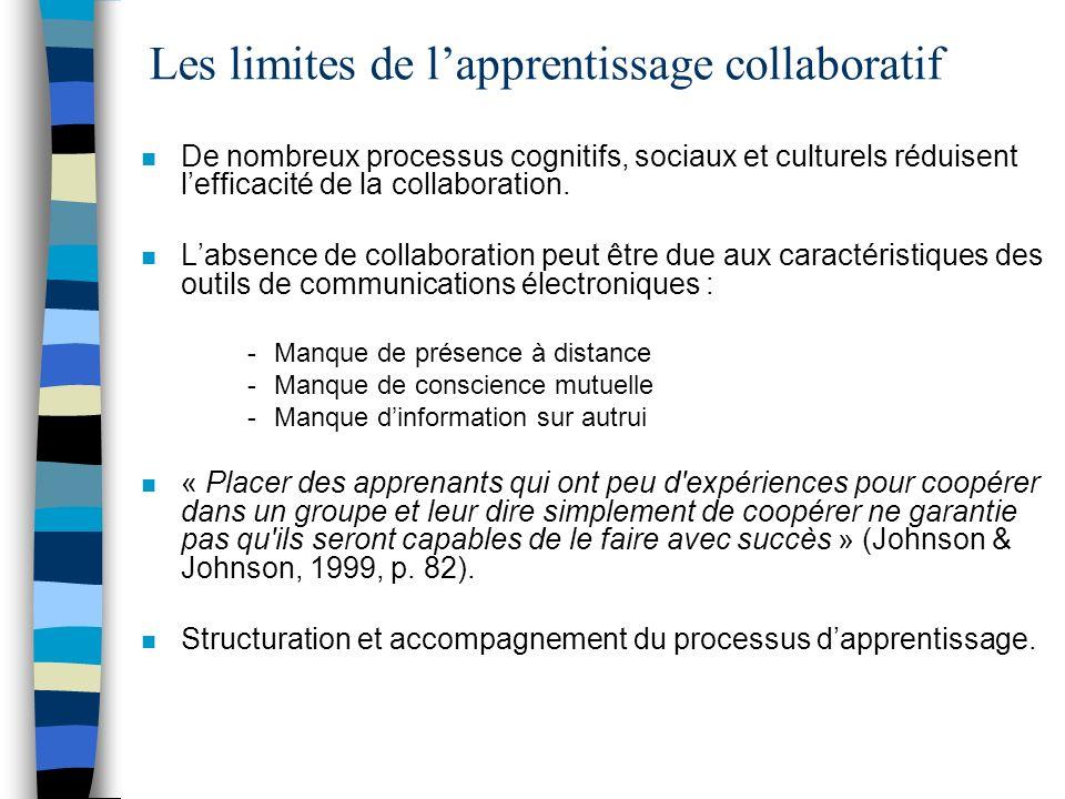 n De nombreux processus cognitifs, sociaux et culturels réduisent lefficacité de la collaboration. n Labsence de collaboration peut être due aux carac