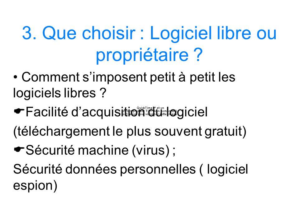 3. Que choisir : Logiciel libre ou propriétaire ? Comment simposent petit à petit les logiciels libres ? Facilité dacquisition du logiciel (télécharge