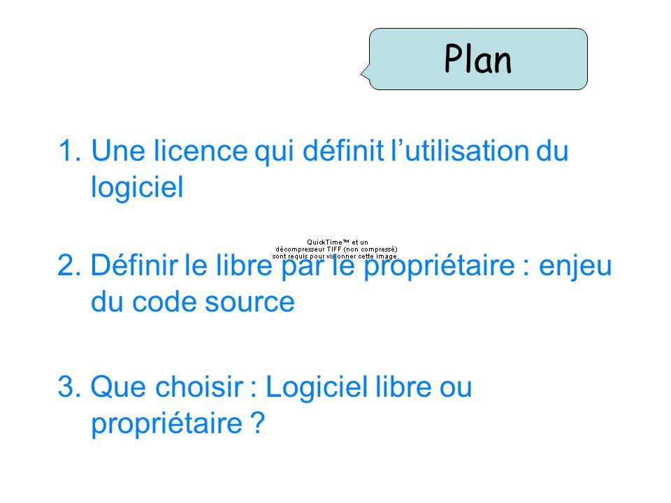 1.Une licence qui définit lutilisation du logiciel 2. Définir le libre par le propriétaire : enjeu du code source 3. Que choisir : Logiciel libre ou p