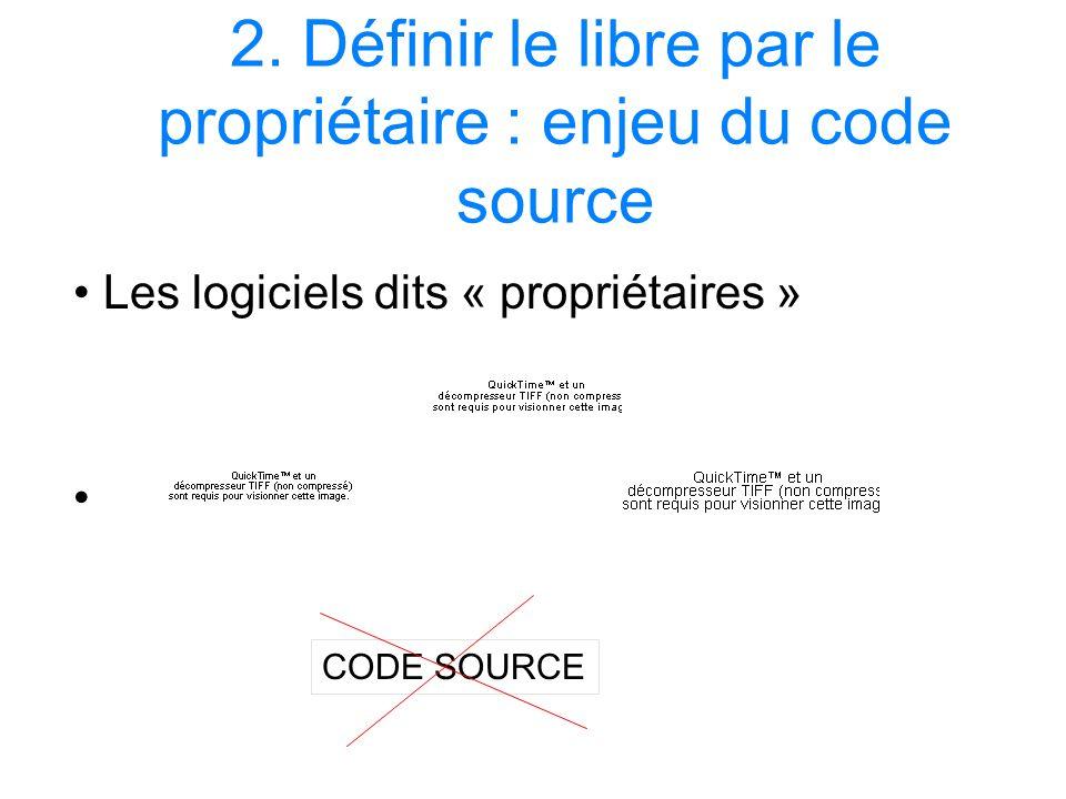 2. Définir le libre par le propriétaire : enjeu du code source Les logiciels dits « propriétaires » CODE SOURCE