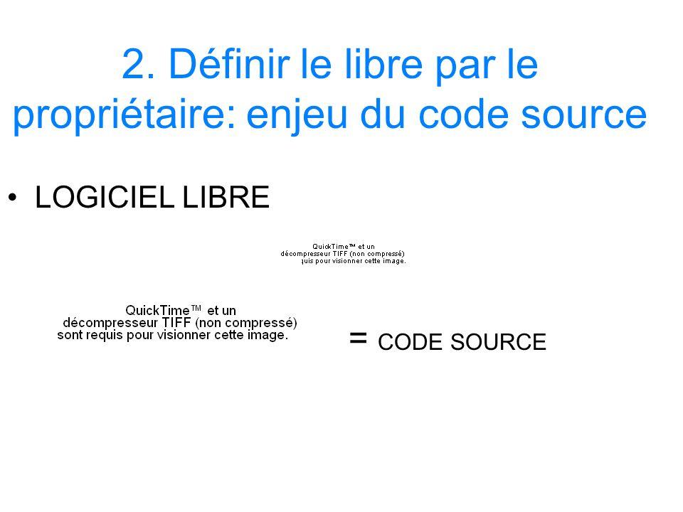 2. Définir le libre par le propriétaire: enjeu du code source LOGICIEL LIBRE = CODE SOURCE