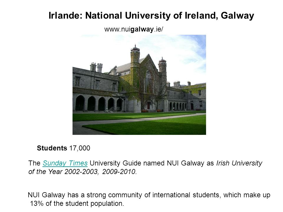 Irlande: National University of Ireland, Galway Students 17,000 The Sunday Times University Guide named NUI Galway as Irish UniversitySunday Times of the Year 2002-2003, 2009-2010.