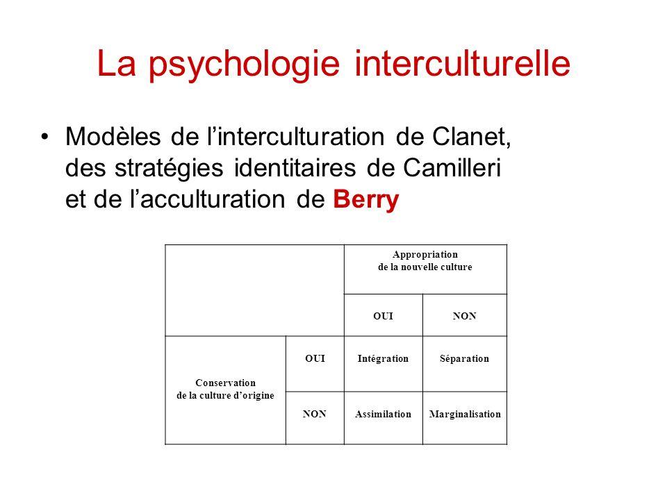 La psychologie interculturelle Modèles de linterculturation de Clanet, des stratégies identitaires de Camilleri et de lacculturation de Berry Appropri