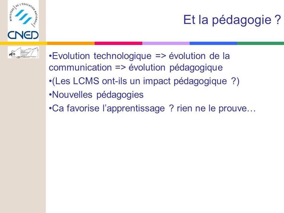 Evolution technologique => évolution de la communication => évolution pédagogique (Les LCMS ont-ils un impact pédagogique ) Nouvelles pédagogies Ca favorise lapprentissage .