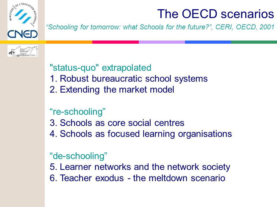 status-quo extrapolated 1.Robust bureaucratic school systems 2.