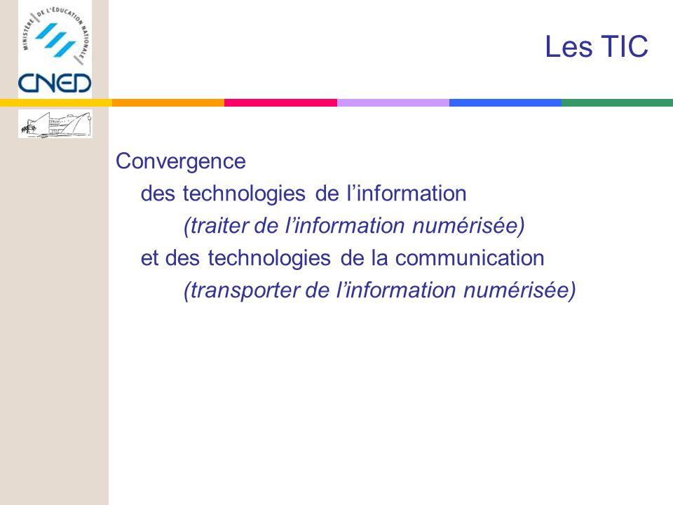 Convergence des technologies de linformation (traiter de linformation numérisée) et des technologies de la communication (transporter de linformation numérisée) Les TIC