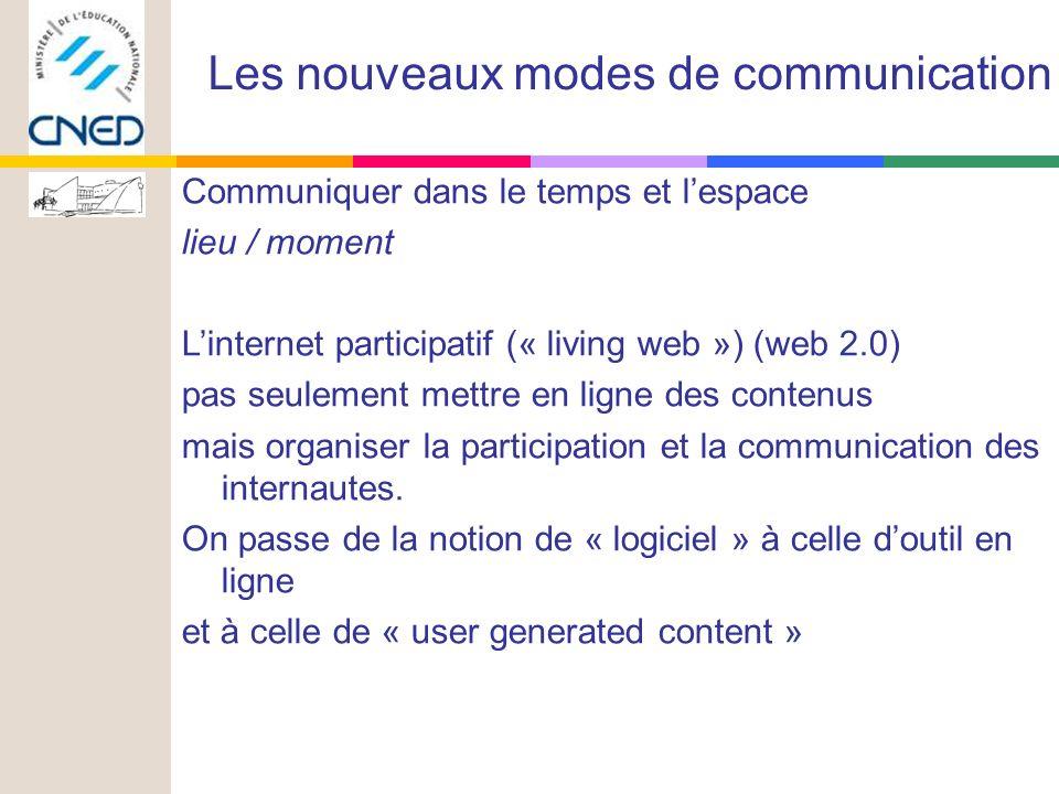 Communiquer dans le temps et lespace lieu / moment Linternet participatif (« living web ») (web 2.0) pas seulement mettre en ligne des contenus mais organiser la participation et la communication des internautes.