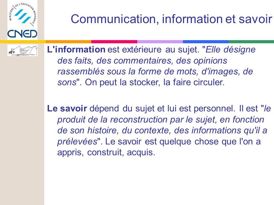 L information est extérieure au sujet.