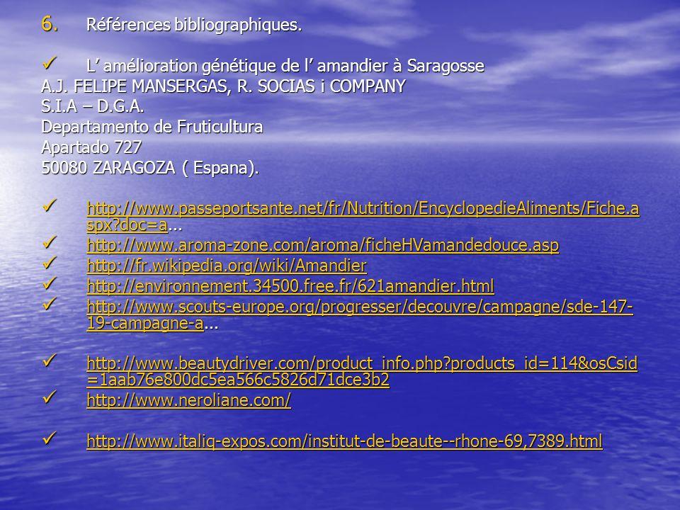 6. Références bibliographiques. L amélioration génétique de l amandier à Saragosse L amélioration génétique de l amandier à Saragosse A.J. FELIPE MANS