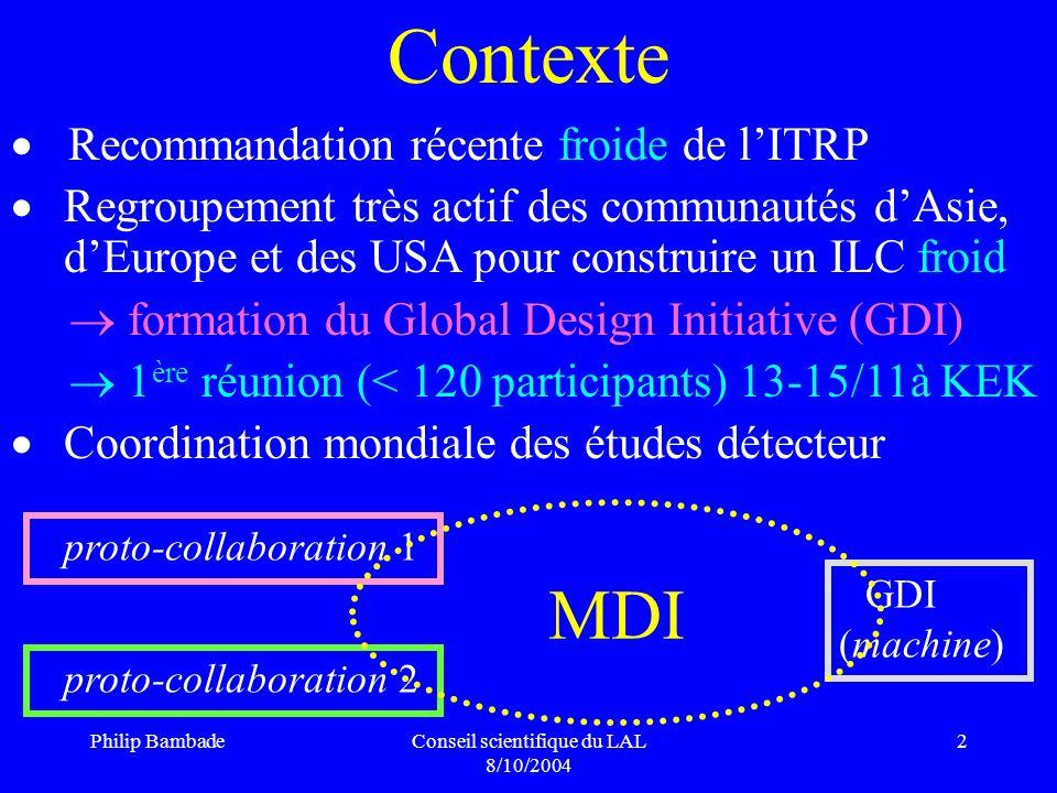 Philip BambadeConseil scientifique du LAL 8/10/2004 13 Étude pour TESLA à E cms = 500 GeV l*=4.1m 1m 1.5m optical transfer QD (r=24mm)QF (r=7mm) 2 mrad IP sortie de QD : R 22 = 3 Beamstrahlung : 2 mrad 2 x du faisceau sortant ( 2 0.5 mrad) 10-16 mm dextension à QF dans des conditions réalistes R.Appleby P.B.