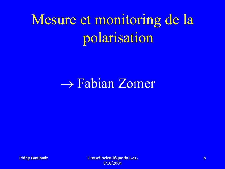 Philip BambadeConseil scientifique du LAL 8/10/2004 17 EuroTeV / ILPS/ BBSIM Personnels LAL : P.
