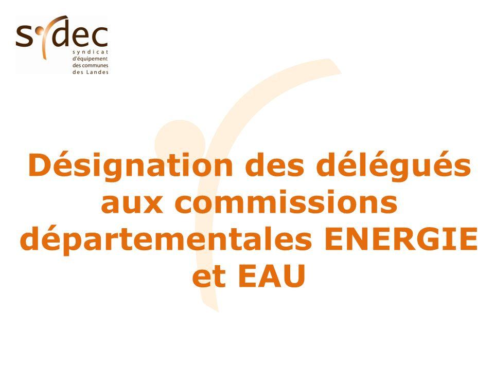 Désignation des délégués aux commissions départementales ENERGIE et EAU