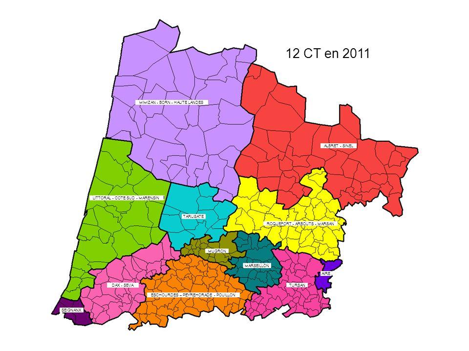 12 CT en 2011 MIMIZAN - BORN - HAUTE LANDES ALBRET - SINEL LITTORAL - COTE SUD - MARENSIN ROQUEFORT - ARBOUTS - MARSAN AIRE TURSAN ESCHOURDES – PEYREHORADE - POUILLON DAX - SBVA SEIGNANX TARUSATE MUGRON MARSEILLON
