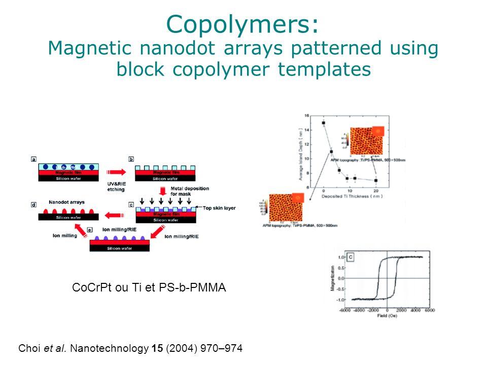 Copolymers: Magnetic nanodot arrays patterned using block copolymer templates CoCrPt ou Ti et PS-b-PMMA Choi et al. Nanotechnology 15 (2004) 970–974