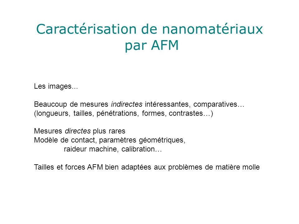Caractérisation de nanomatériaux par AFM Les images... Beaucoup de mesures indirectes intéressantes, comparatives… (longueurs, tailles, pénétrations,