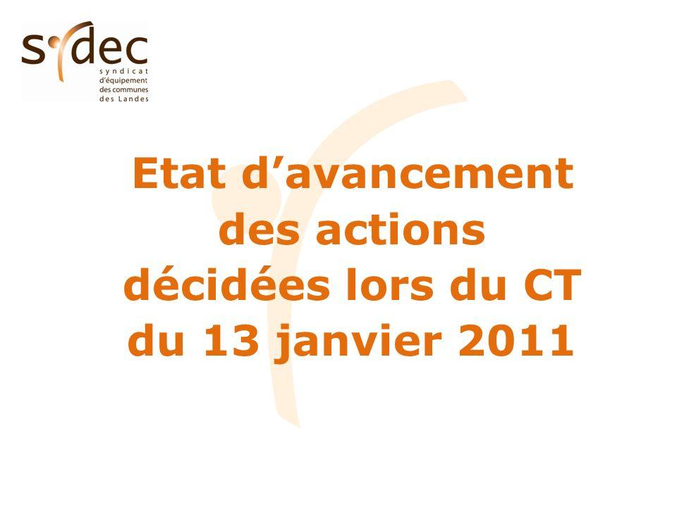 Etat davancement des actions décidées lors du CT du 13 janvier 2011