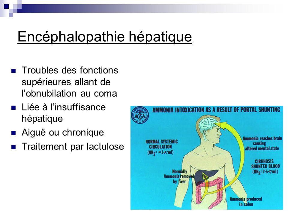 Encéphalopathie hépatique Troubles des fonctions supérieures allant de lobnubilation au coma Liée à linsuffisance hépatique Aiguë ou chronique Traitem
